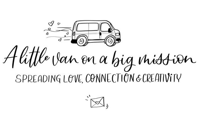 Hand-drawn logo of Inky the little van on a big mission