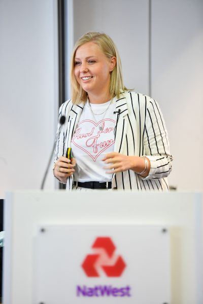 Charlotte Pearce talking at EWIF Awards 2018